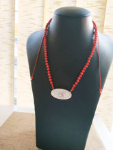 Load image into Gallery viewer, Red coral marble necklace