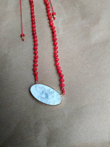 Red coral marble necklace