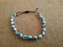 Load image into Gallery viewer, White blue evil eye beaded bracelet
