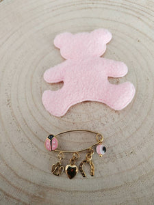 Lady bug lucky charm safety pin