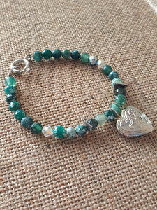 Heart locket green bracelet