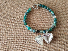 Load image into Gallery viewer, Heart locket green bracelet