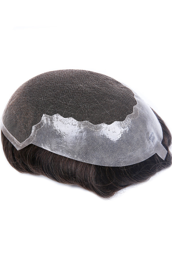 French Lace Center with Poly Side and Back Stock Hair Replacement System For Men