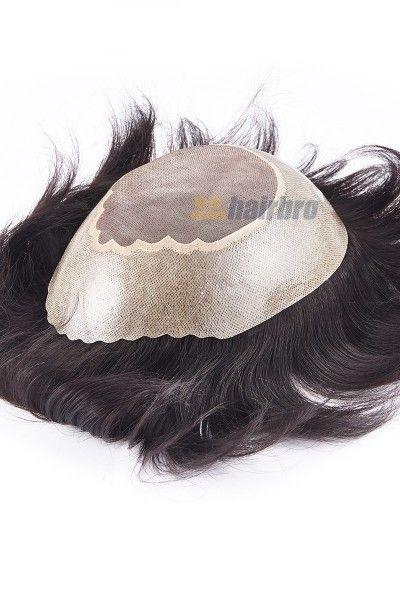Fine Mono Center with Wide Poly Around Hair Replacement System for Men