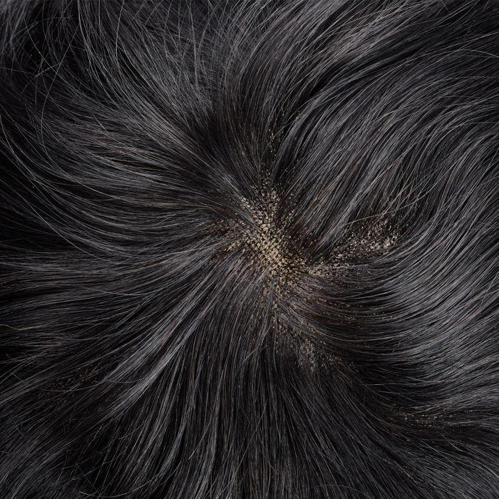 French Lace Center with Poly around Stock Hair Replacement System For Men