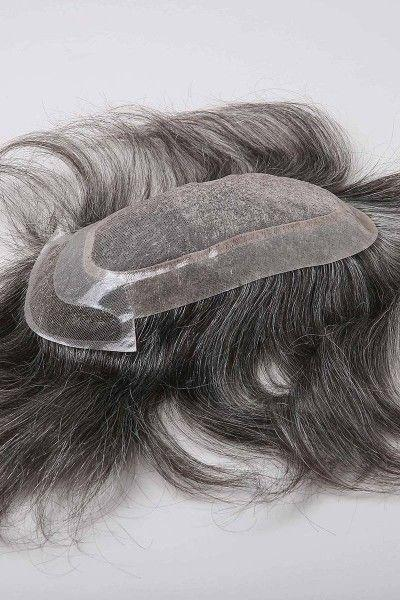Fine Mono Center Poly Perimeter French Lace Front Hair Replacement System