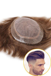 French Lace Center with Thin Poly All Around Hair Replacement System for Men