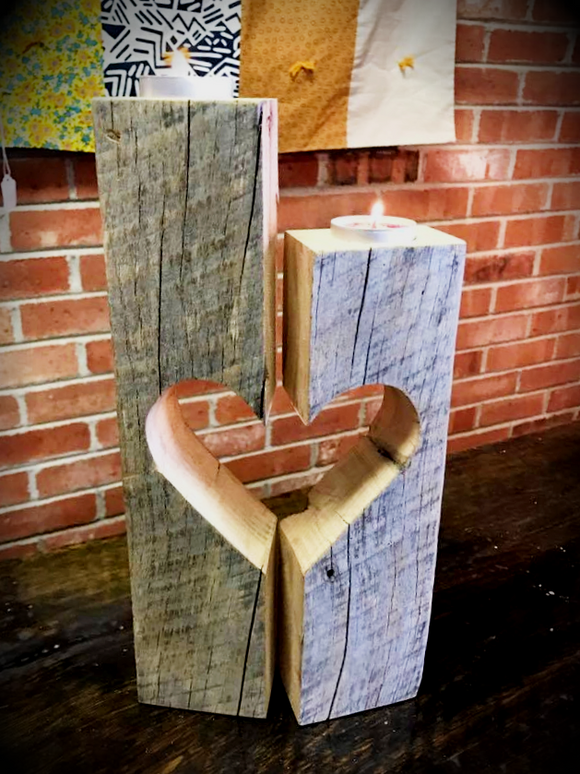 Barnwood Beam Heart Candle Holder