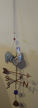 Metal Rooster on Compass with Orb and Bell Bouncy