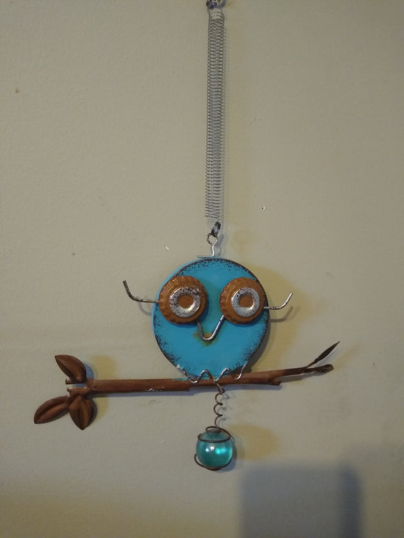 Metal Owl on Branch with Orb Bouncy (Blue)