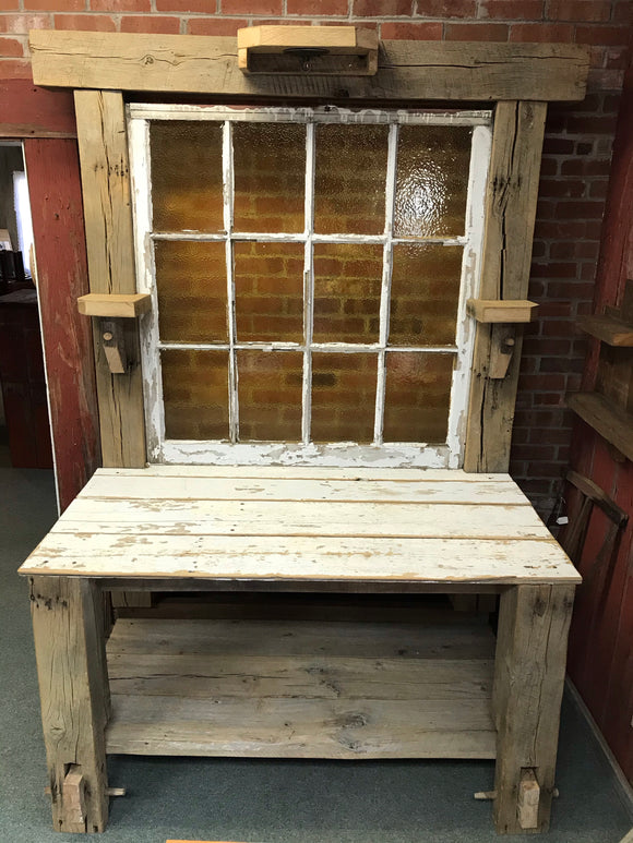 White Barnwood Beam Hall Tree w/ Window & Lighting