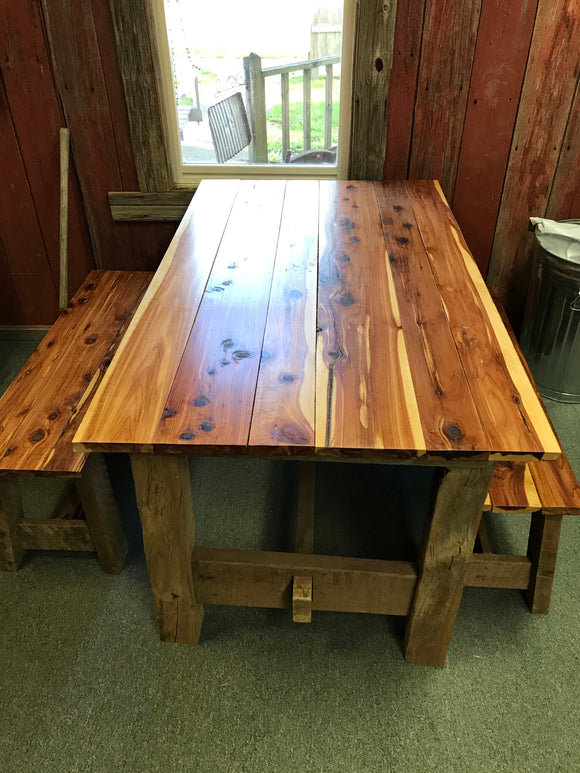 Cedar Top Barnwood Table w/ Benches