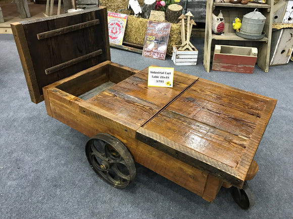 Industrial Cart Barnwood Coffee Table w/ Storage