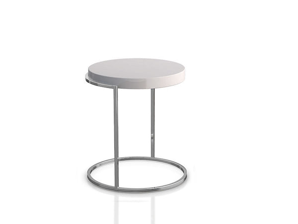 Servogiro End Table White Matt Chrome