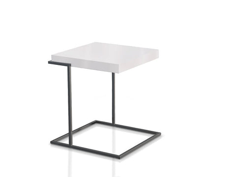 Servoquadro End Table White Matt - Titanium Structure