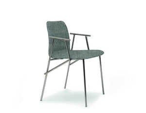 Alunna Side Chair Taupe Grade A Fabric, Titanium Legs