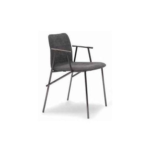 Alunna Armchair Dark Brown Fabric Titanium Legs