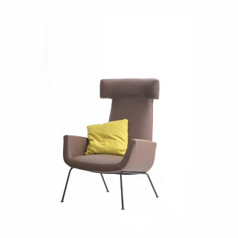 Dora Armachair Castoro Leather - Burnished Legs