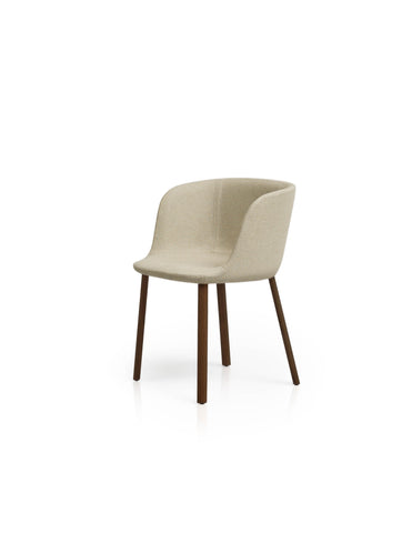 Esse Armchair Beige Leather - Burnt Oak Legs