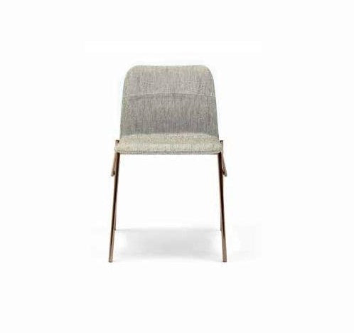 Alunna Side Chair Beige Fabric - Bronze Legs
