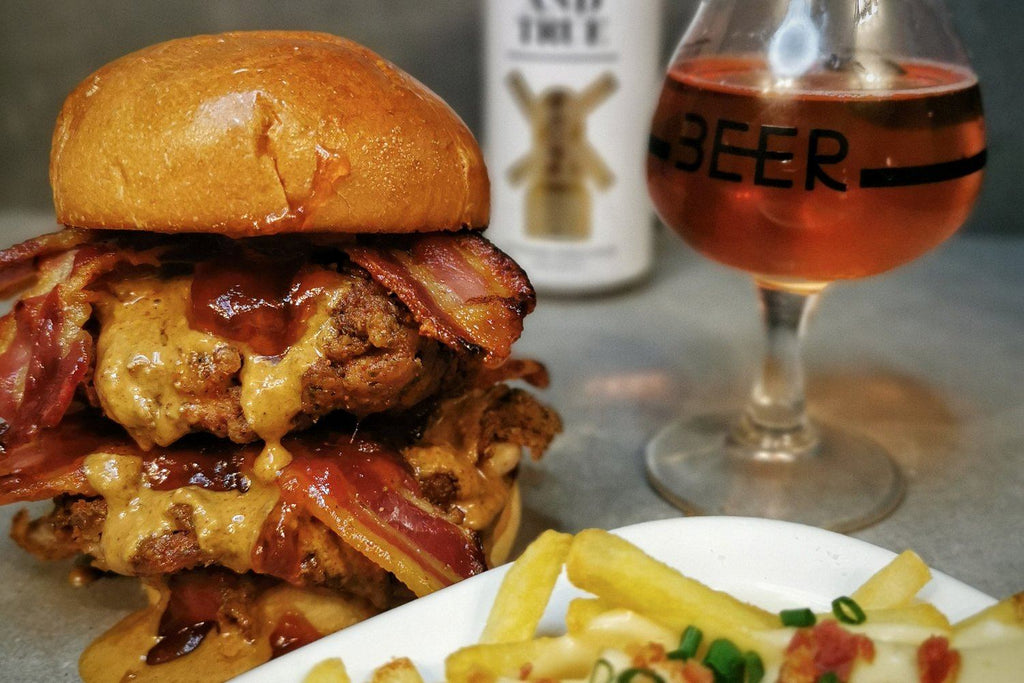 Peanut Butter and Jelly Fried Chicken Burger