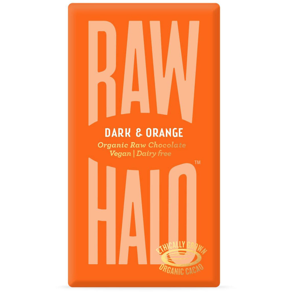 Dark & Orange Organic Raw Chocolate Bar Confectionary - Sweets Raw Halo