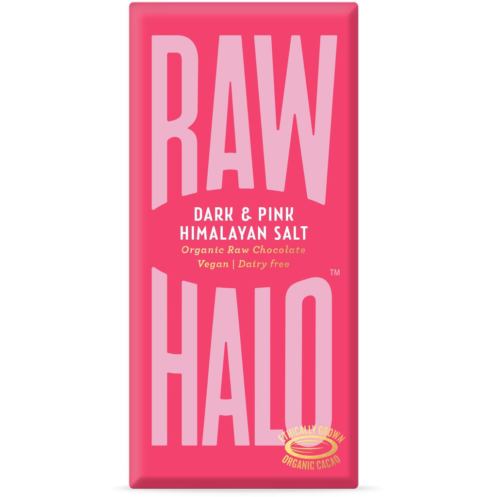 Dark & Pink Salt Organic Raw Chocolate Bar Confectionary - Sweets Raw Halo