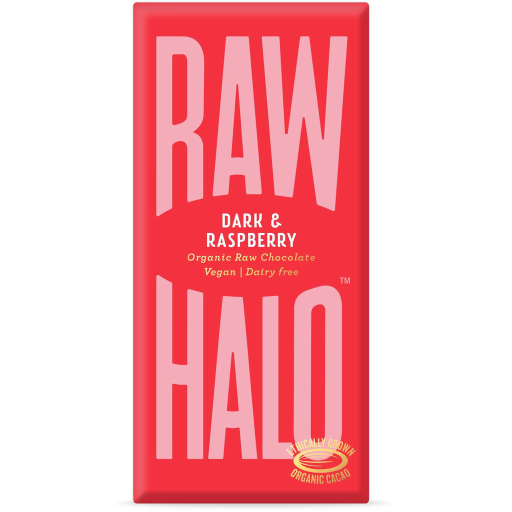 Dark & Raspberry Organic Raw Chocolate Bar Confectionary - Sweets Raw Halo