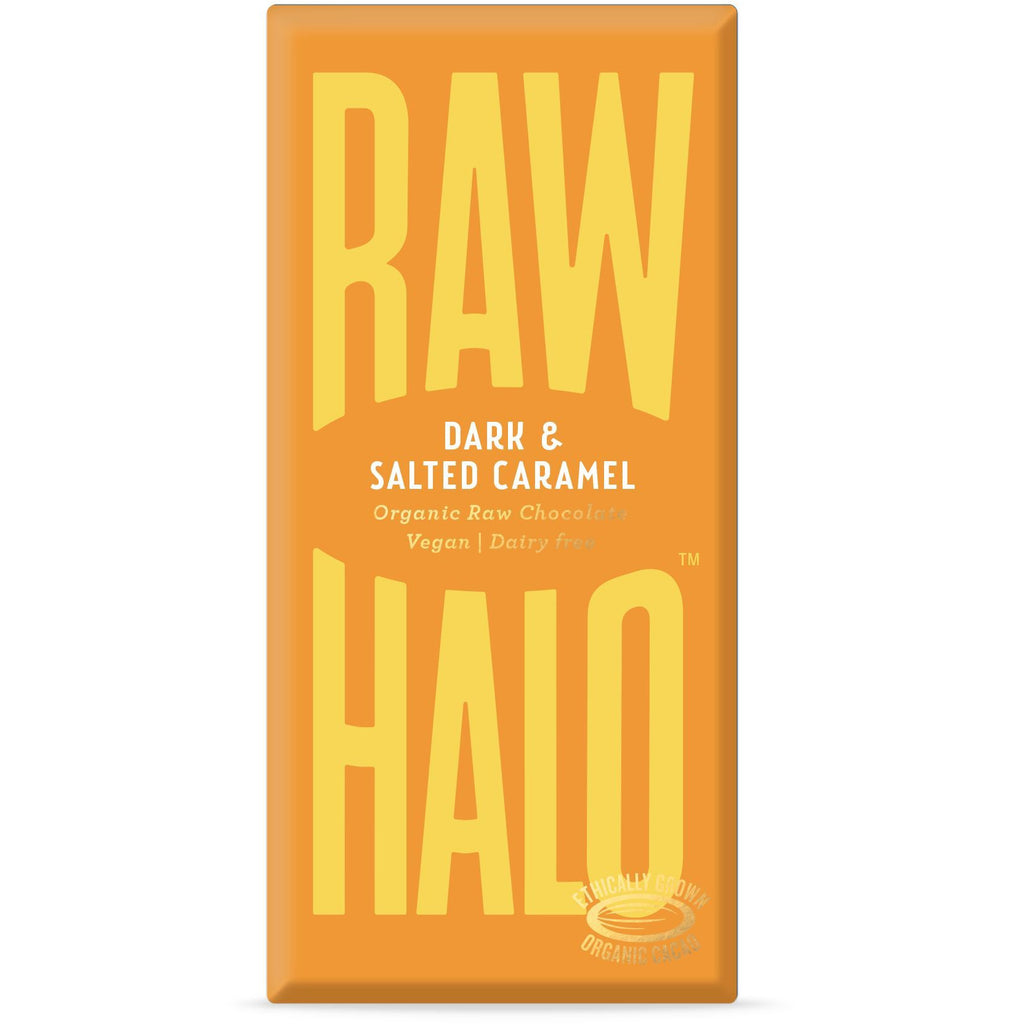 Dark & Salted Caramel Organic Raw Chocolate Bar Confectionary - Sweets Raw Halo