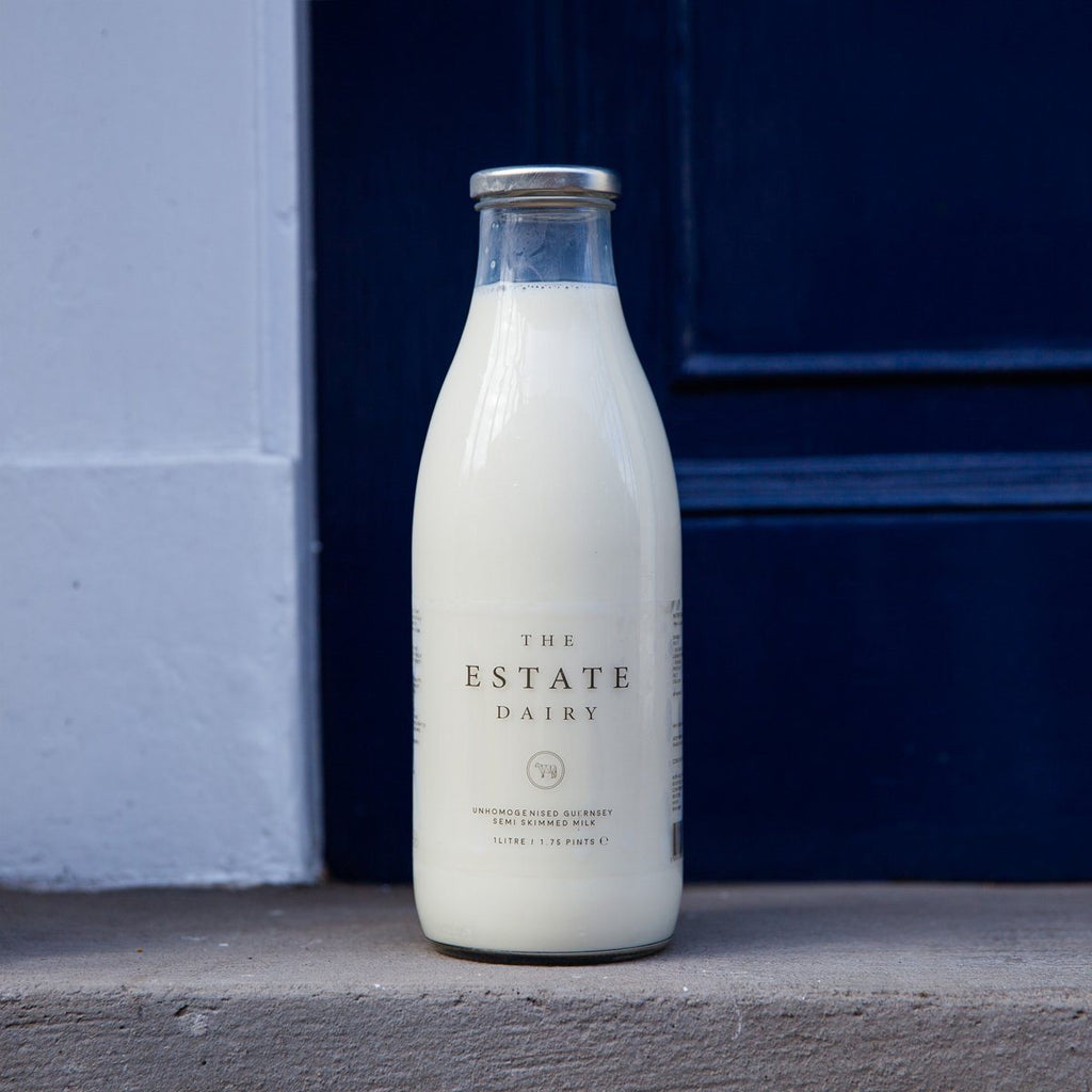 Jersey Semi Skimmed Milk (Glass Bottle) Milk The Estate Farm
