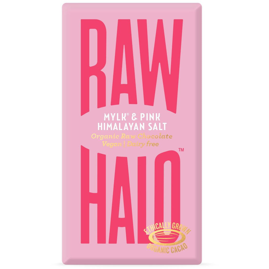 Mylk & Pink Salt Organic Raw Chocolate Bar Confectionary - Sweets Raw Halo