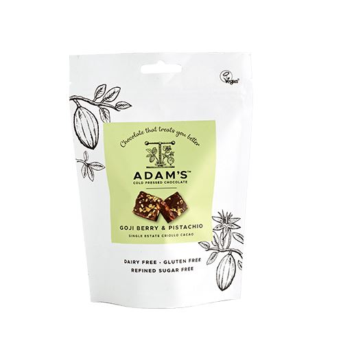 Organic Goji Berry & Pistachio Cold-Pressed Chocolate Pouch Confectionary - Sweets Adam's Cold Pressed Chocolate