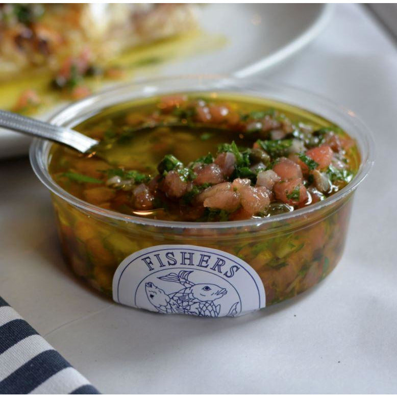 Roast Red Pepper Sauce Vierge Salsa Fishers Restaurant