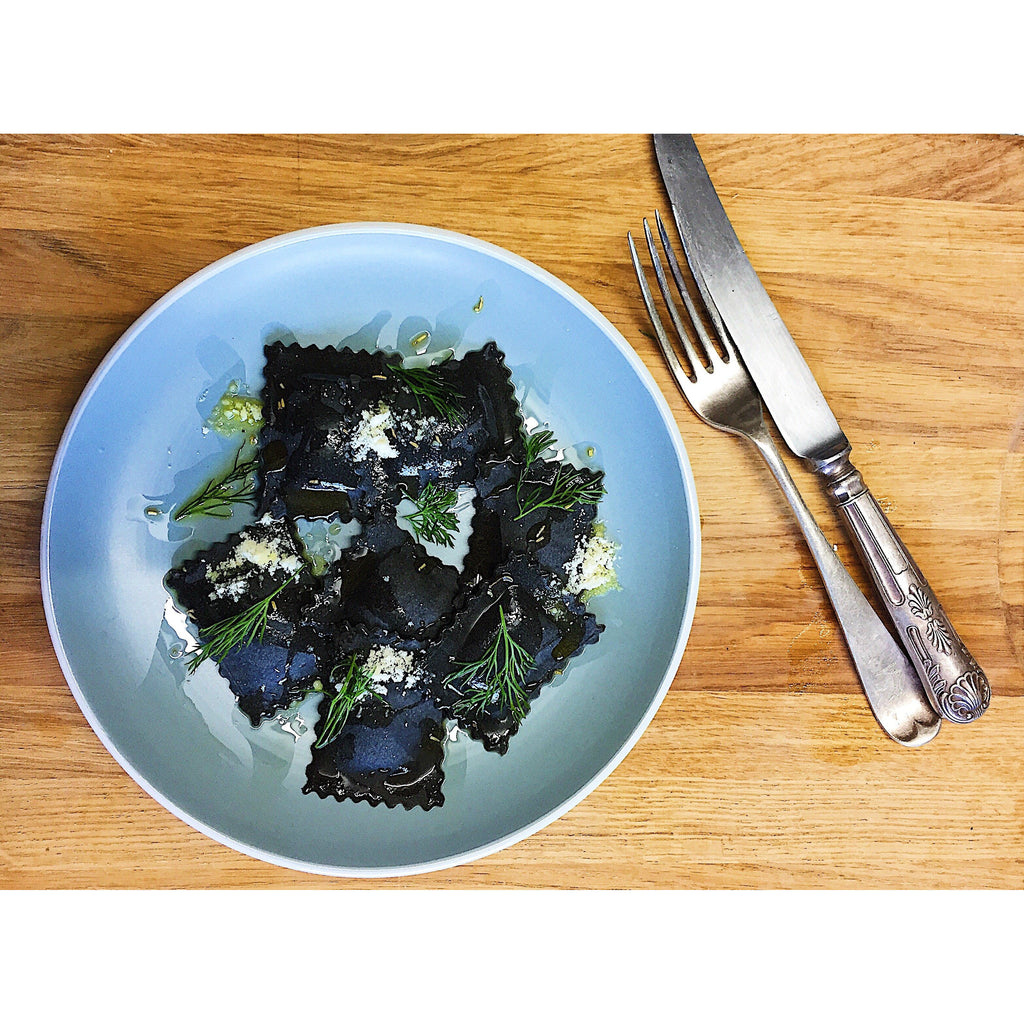 Squid Ink Stained King Prawn & Crayfish Ravioli (Frozen) Pasta RaviOllie