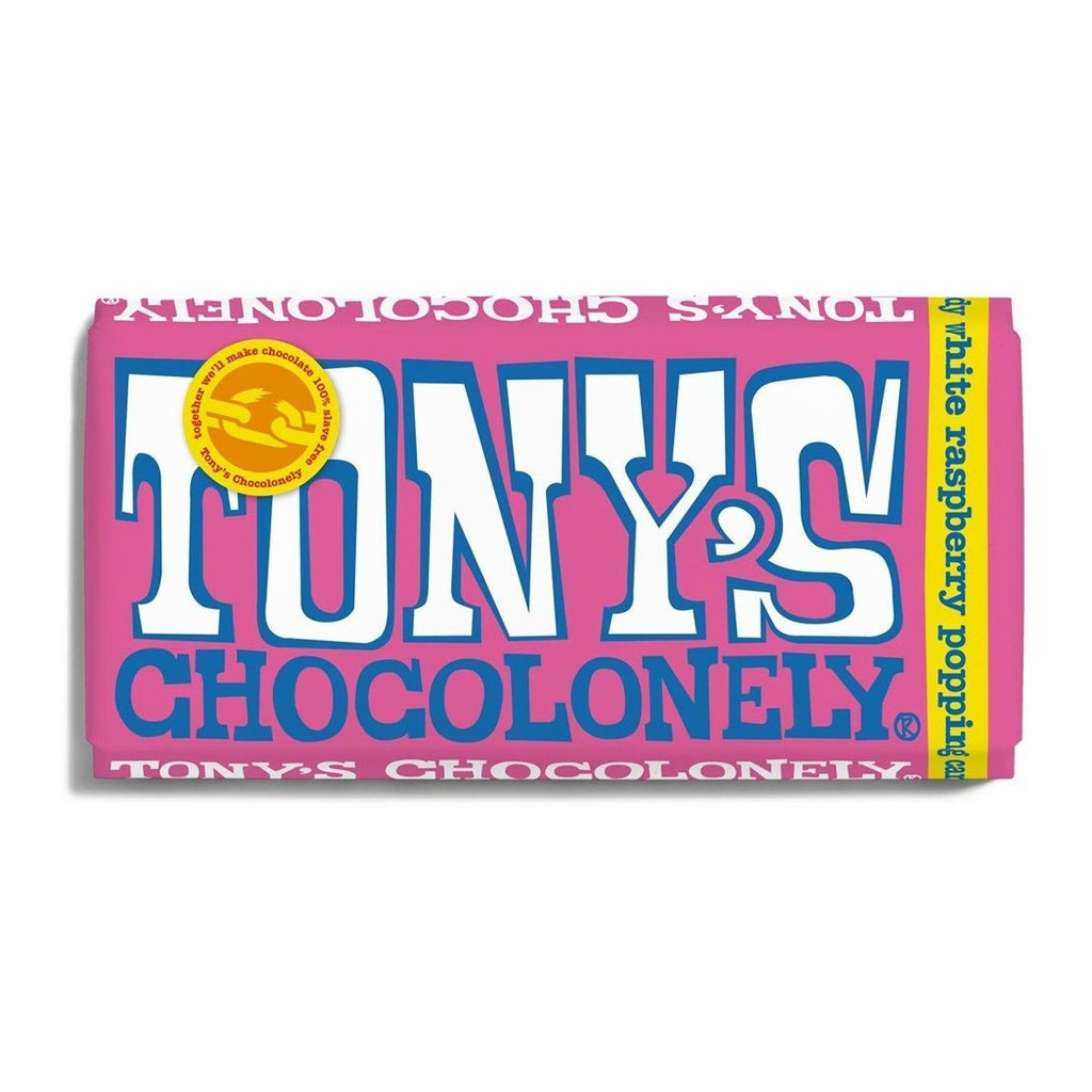 White Chocolate Raspberry with Popping Candy Confectionary - Sweets Tony's Chocolonely