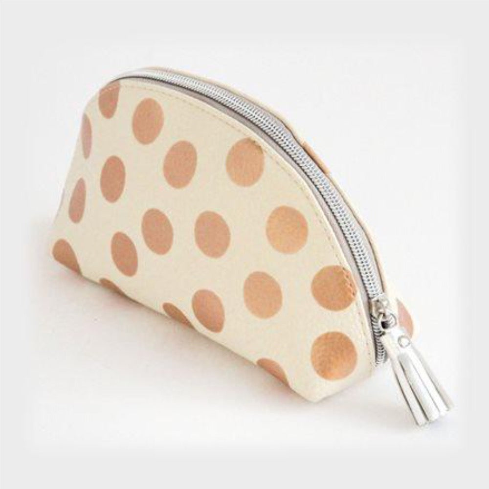 Rose Gold Spot Half Moon Cosmetic Bag