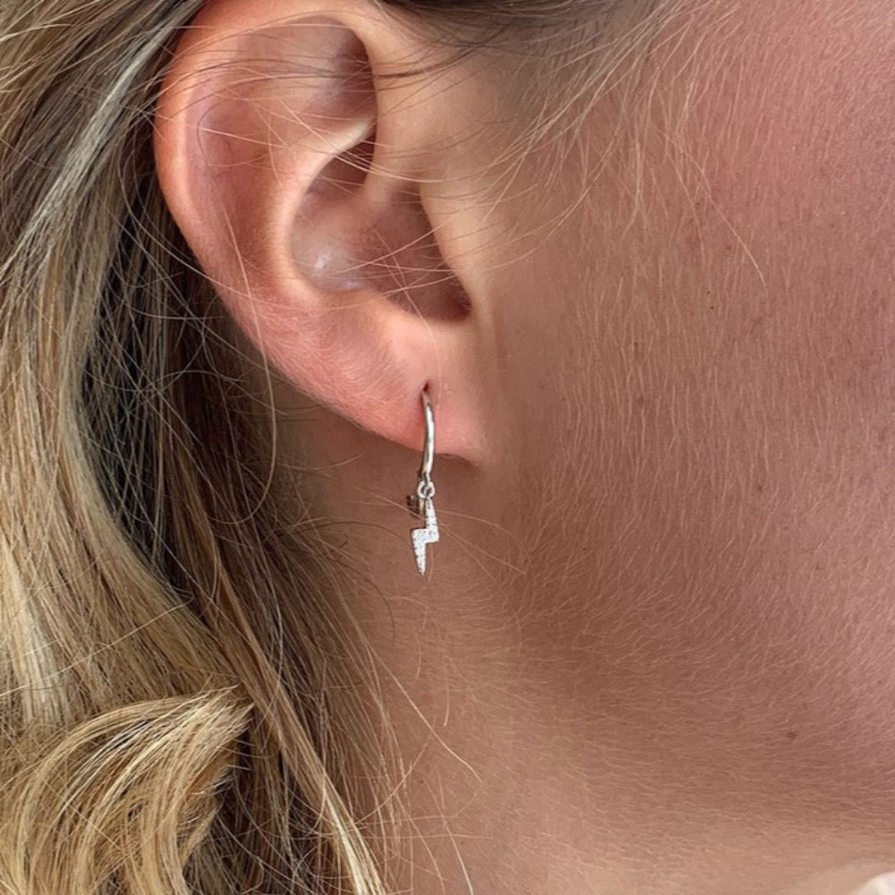 Callies Silver Lightning Bolt Earrings