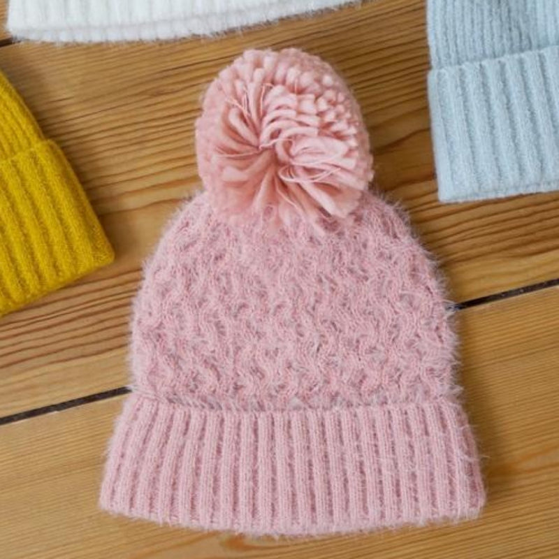 Soft Knit Pink Bobble Hat