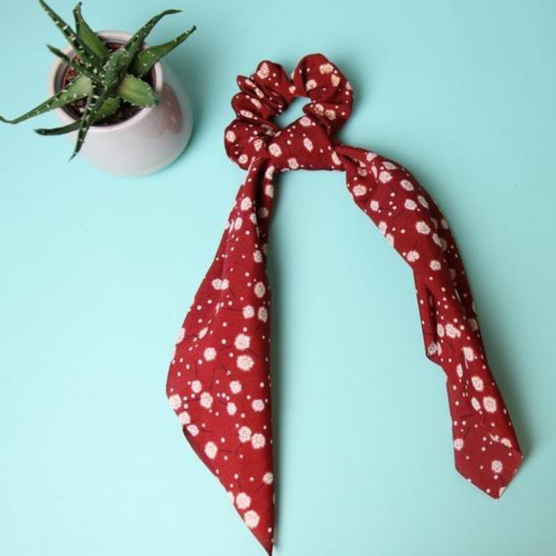 Red Flower Print Scrunchy