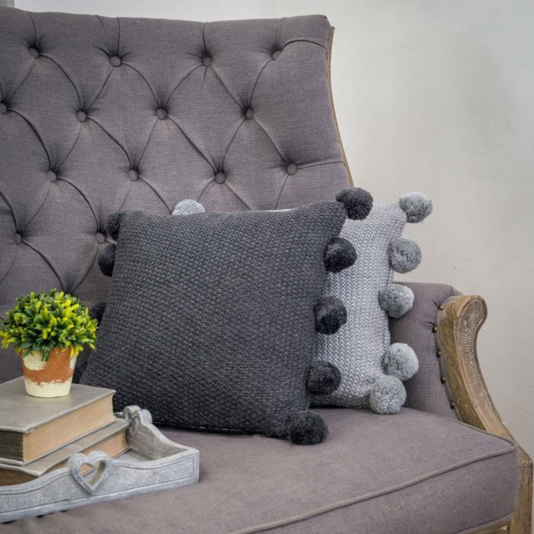 Charcoal Pom Pom Cushion