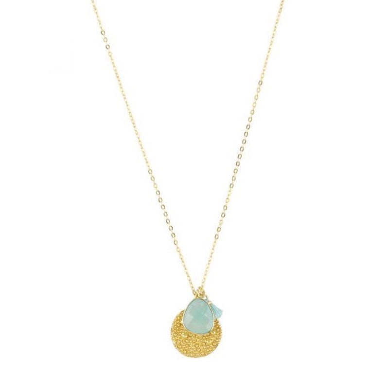 Spell Coin Charm Necklace in Aqua Chalecdony