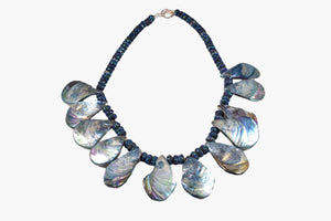 Blue Rainbow Abalone Shell Beaded Necklace