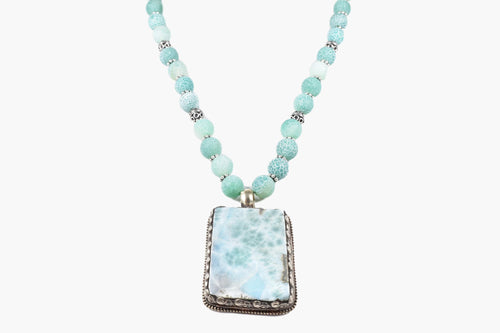 Larimar Beaded Pendant Necklace