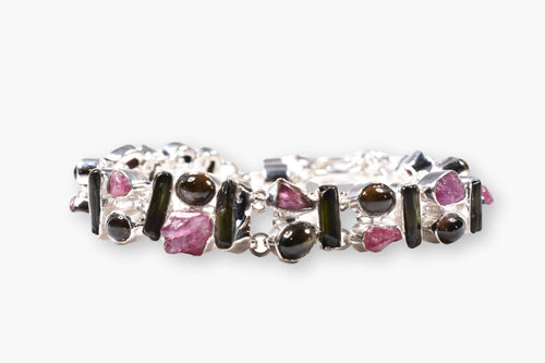 Raw & Polished Tourmaline Sterling Silver Link Bracelet