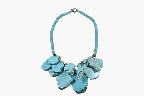 Turquoise Slab Two Layer Beaded Necklace
