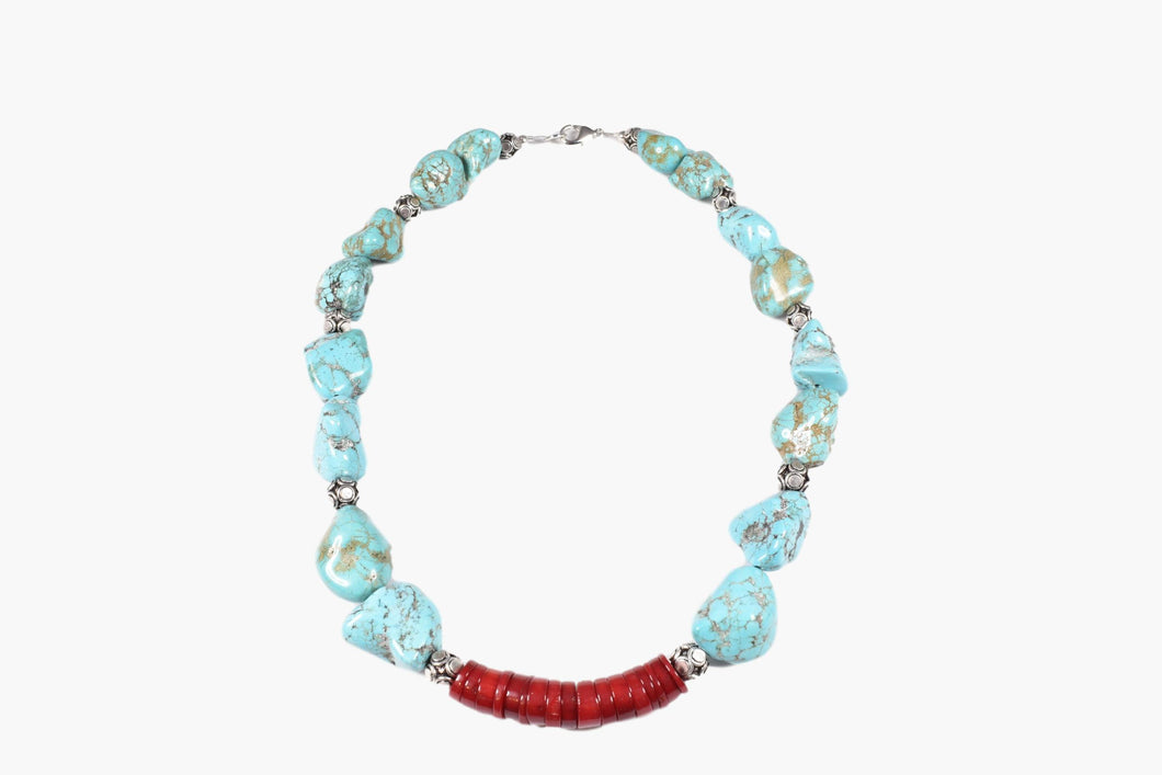 Turquoise Chunk Red Coral Bead Necklace