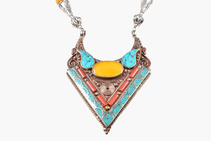 Tibetan Turquoise, Red & Yellow Coral Silver Pendant Necklace