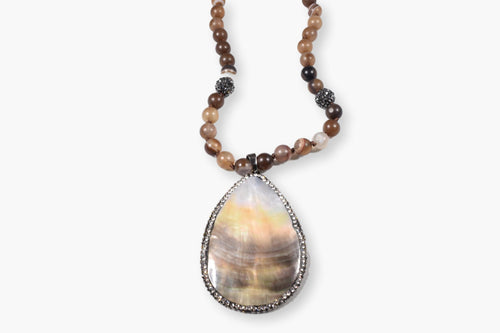 Natural Shell Crystal Beaded Pendant Necklace