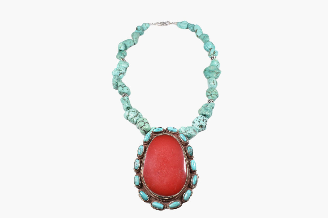 Turquoise Chunk Red Coral Pendant Necklace