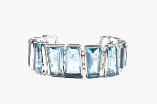 Sterling Silver Link Bracelet with Blue Topaz